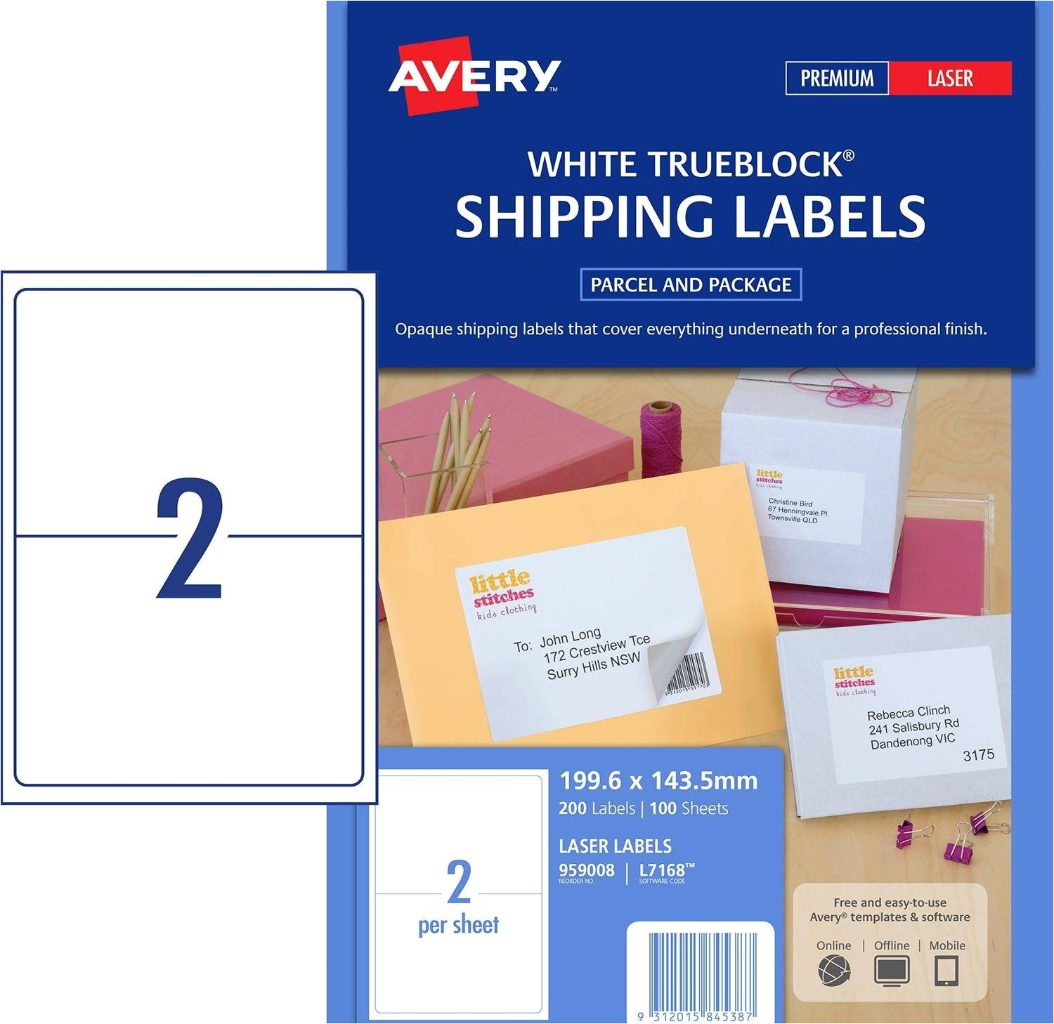 white trueblock shipping labels l7168 200 pack 199 6 x 143 5 mm 959008