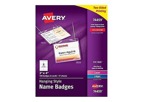 Avery Hanging Name Badges 74459 Template Avery Hanging Name Badges top Loading Name Badge Labels