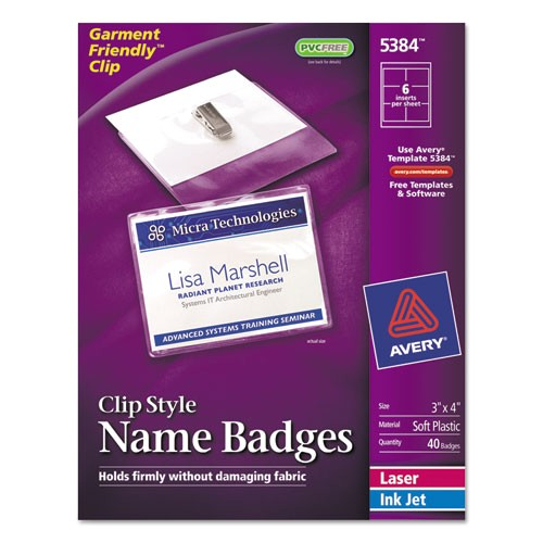 avery garment friendly clip style name badges 5384
