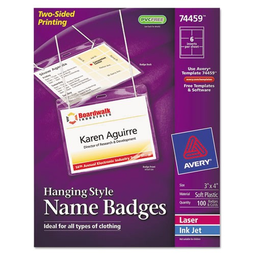 avery hanging name badges 74459