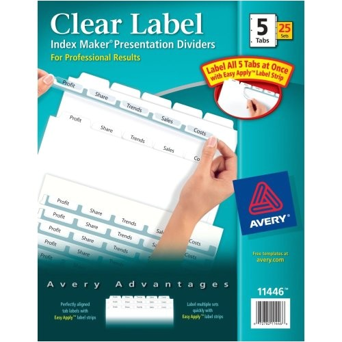 avery index maker clear label dividers with white tabs 5 5 x 8 5 inches 5 tabs 1 set 11426 24739