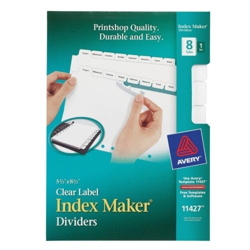 avery 8 tab index maker clear label dividers with white tabs 1 set