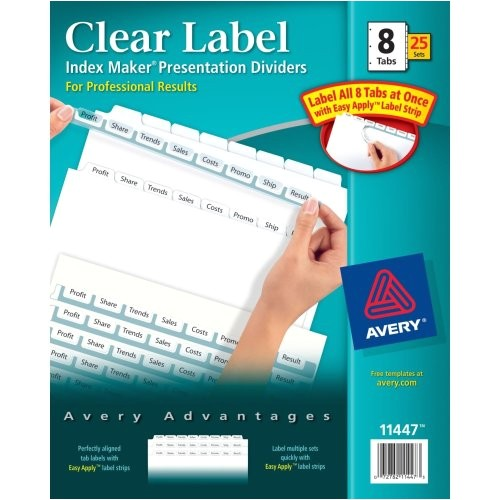 avery index maker clear label dividers easy apply label strip 5 tab multi color 25 sets 11423 24180