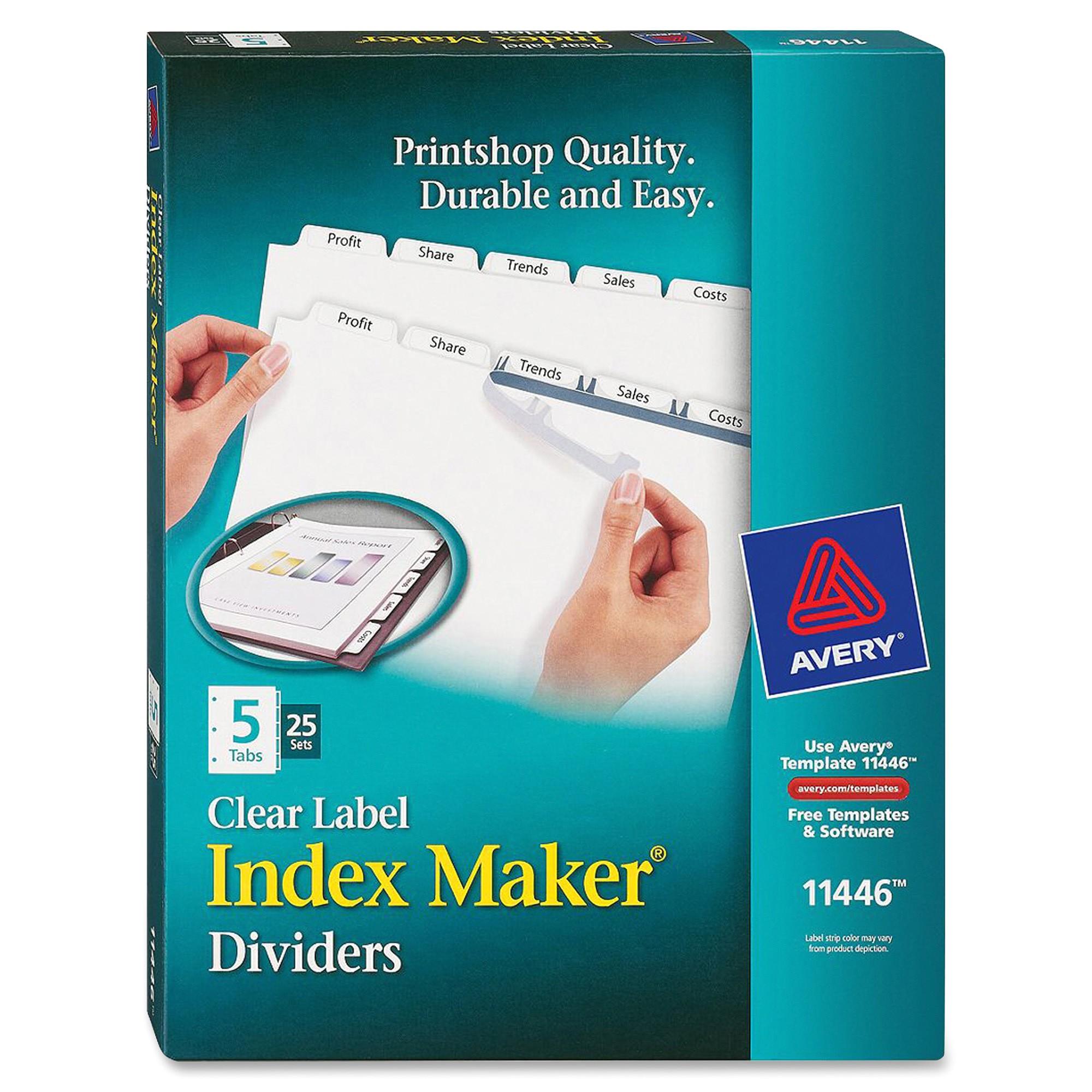 ave11446 avery lsk5b index maker clear label divider