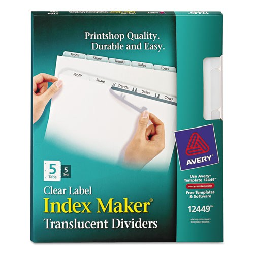 Avery Index Maker Clear Label Dividers 12 Tab Template Avery 12449 Index Maker Print Apply Clear Label Plastic