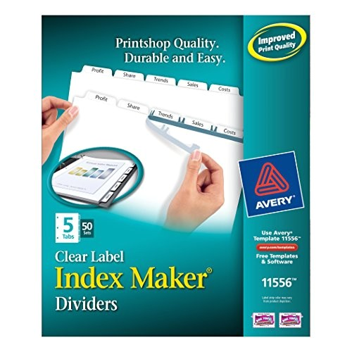 Avery Index Maker Clear Label Dividers 12 Tab Template Avery Index Maker Clear Label Dividers 8 5 X 11 Inch 5