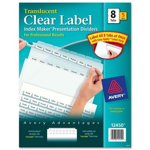 Avery Index Maker Clear Label Dividers 12 Tab Template Printer
