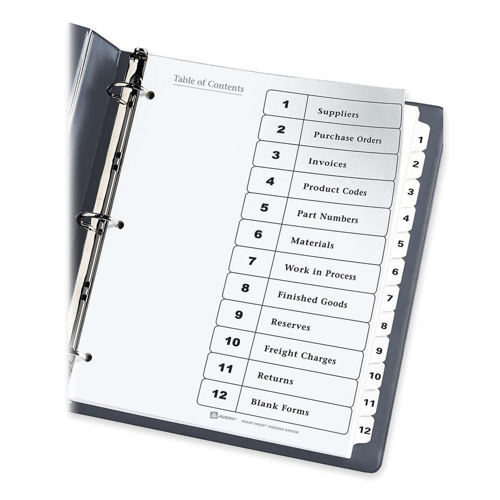 Avery Index Tabs Template Avery 11140 Table Of Contents Ready Index Dividers