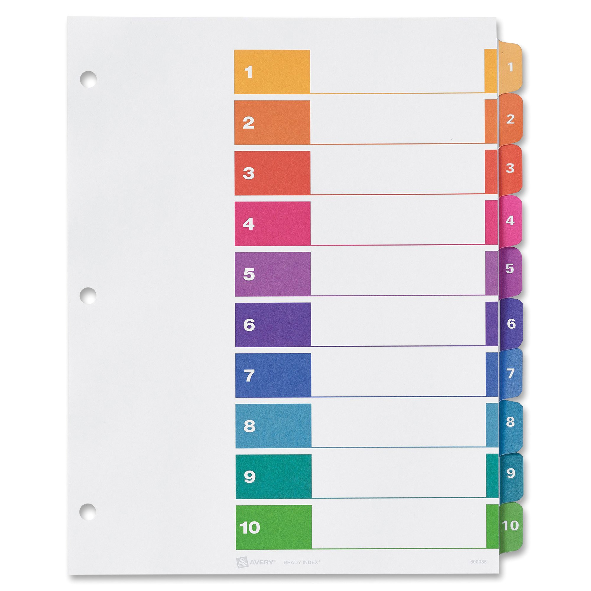Avery Index Tabs Template Avery Ready Index Table Of Contents Reference Divider Ld