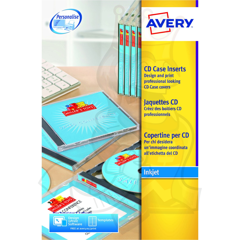 avery cd case insert inkjet 151x118mm j8435 25