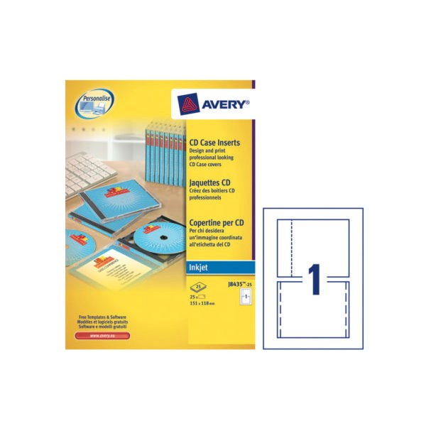 avery cd cases and inserts white pack of 25 j8435 25