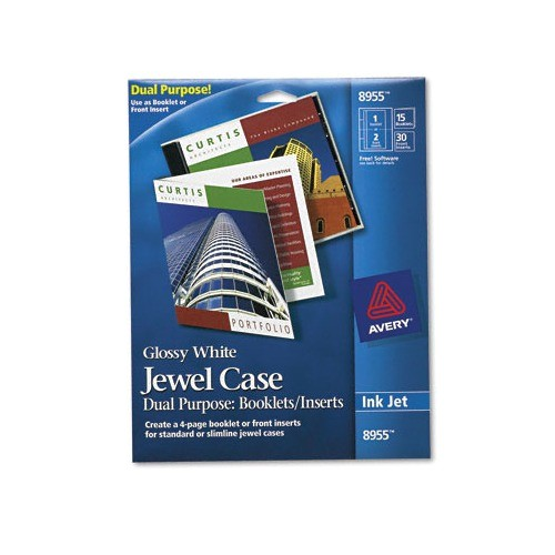 ave8955 office supplies avery jewel case booklets inserts white glossy