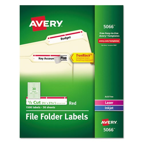 self adhesive laserinkjet file folder labels white red border 1500box ave5066