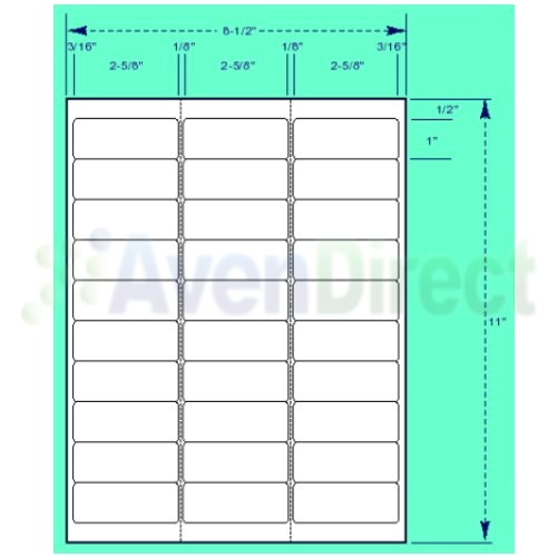 Avery Label Template 5660 6000 Address Labels White Laser Inkjet 1 Quot X2 5 8 Quot 5160