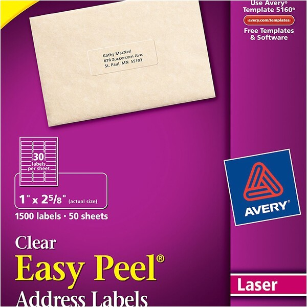 avery easy peel clear address labels 5660