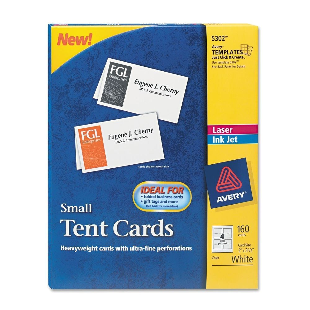 Avery Large Tent Card Template Avery 5302 Tent Cards Inkjet Laser Small 160 Cards New