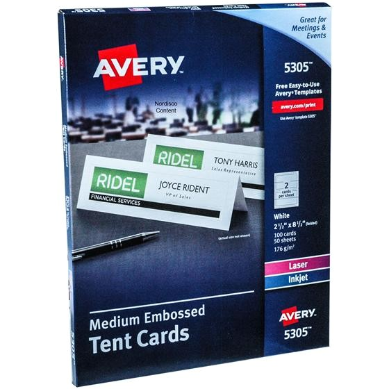 Avery Large Tent Cards 5305 Template Avery 5305 Medium Embossed Tent Cards 2 1 2 X 8 1 2