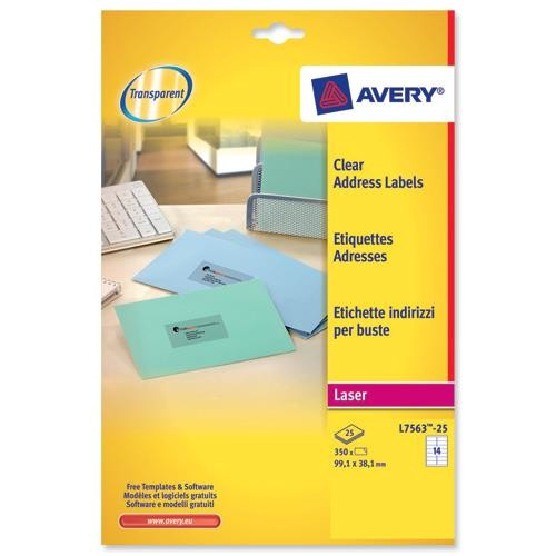 Avery Laser Label Templates Avery L7563 Clear Laser Printer Labels 99 1×38 1mm 14