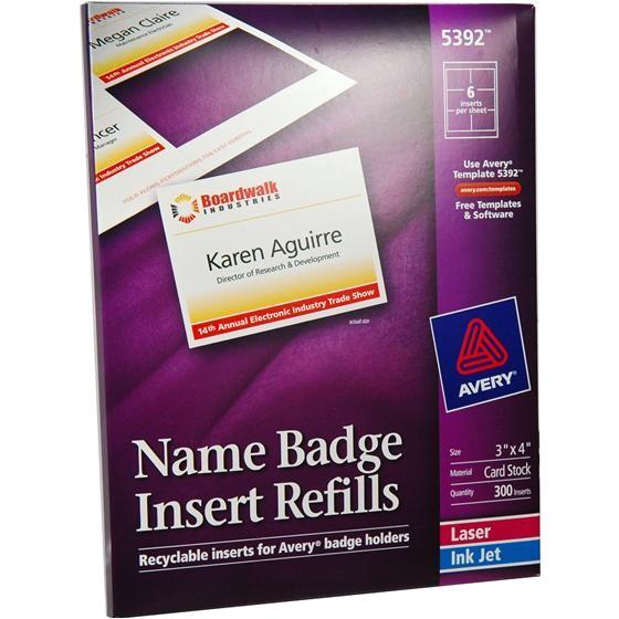 avery 5392 3x4 name badge insert refills