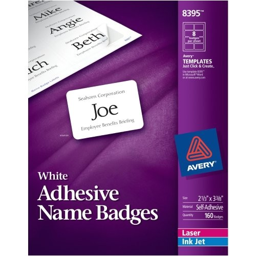 avery insertable 3 x 4 inch white name badges 100 count 74459 19559
