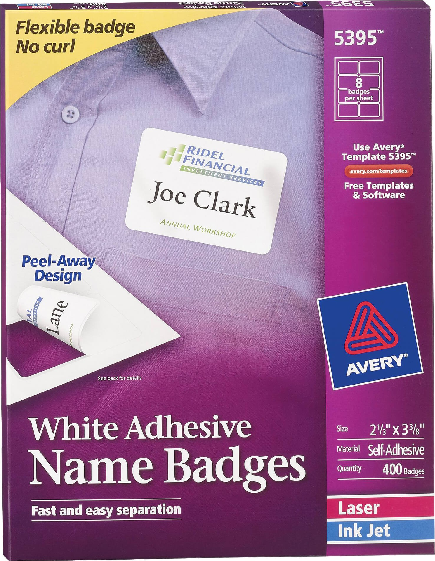 avery white adhesive name badges 5395