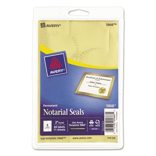 avery print or write gold foil notarial seals 5868