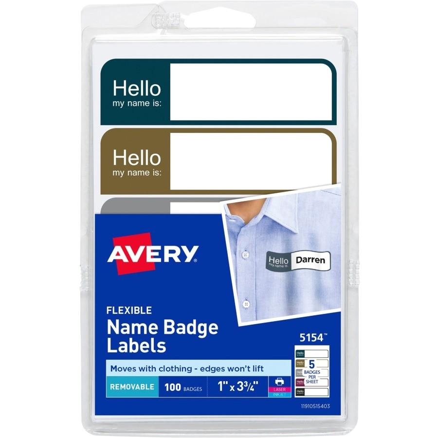 Avery Photo Id Badge Templates Avery Flexible Adhesive Mini Name Badge Labels Ave 5154