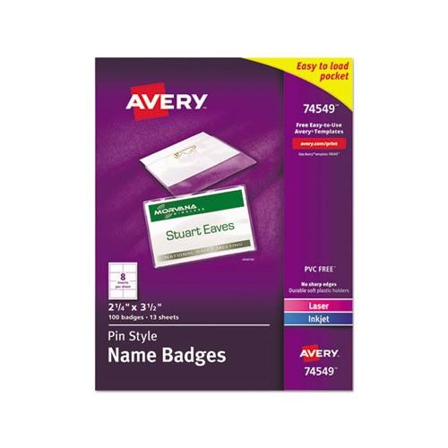 Avery Pin Style Name Badges 74549 Template Avery Badge Holder Kit W Laser Inkjet Insert Ave74549