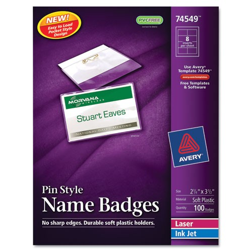 avery pin style name badges 74549