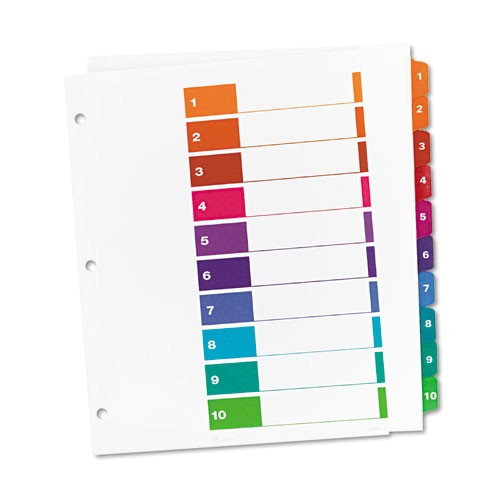 ready index customizable table of contents asst dividers 10 tab 11 x 9 12 ave11165
