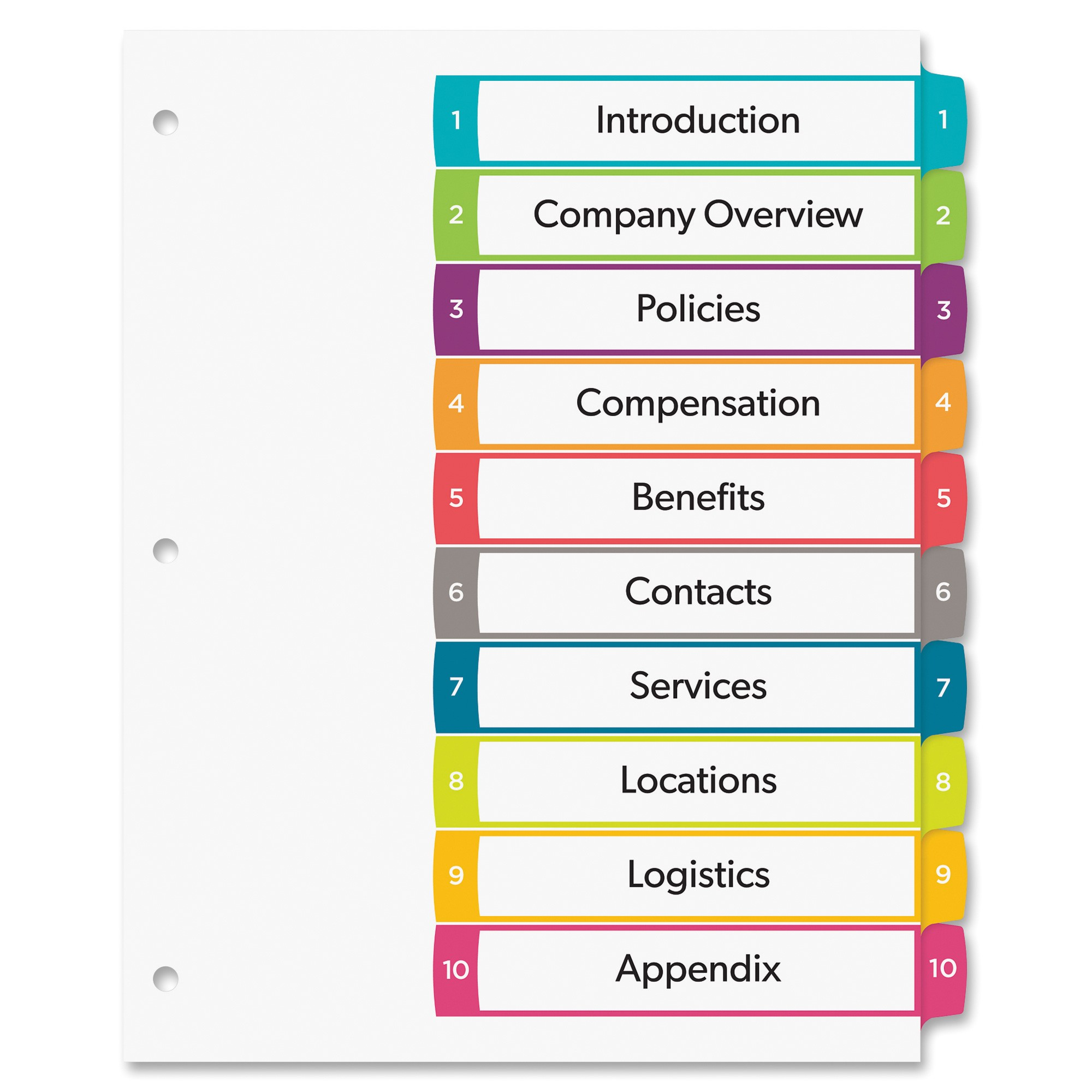 Avery Ready Index 10 Tab Template Avery Ready Index Customizable Table Of Contents