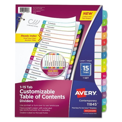Avery Ready Index 15 Tab Template Avery Ready Index Table Of Contents Dividers Multicolor
