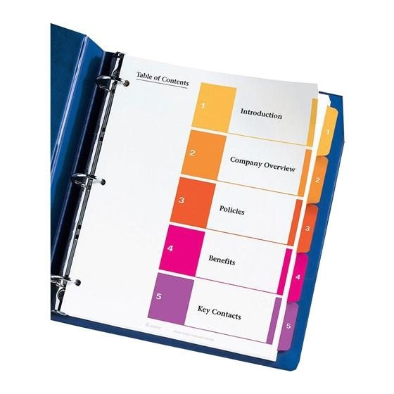 Avery Ready Index 5 Tab Template Avery 11131 Ready Index 1 5 Multicolor Tabs 1 Set