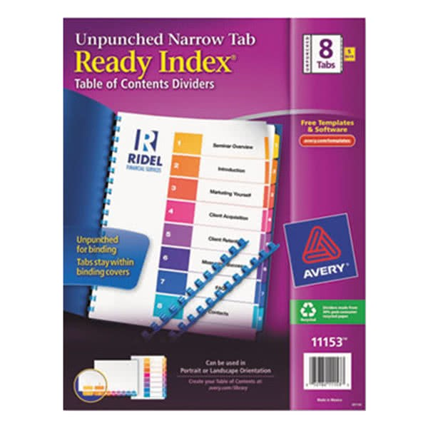 Avery Ready Index 8 Tab Color Template Avery 11153 Ready Index Narrow 8 Tab Multi Color Unpunched