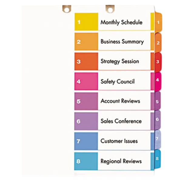 Avery Ready Index 8 Tab Color Template Avery 13158 Ready Index 8 Tab Multi Color Customizable