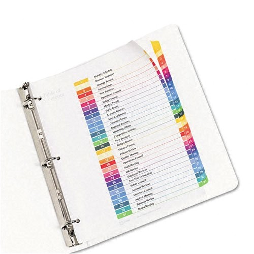 Avery Ready Index 8 Tab Color Template Avery Ready Index Table Of Contents Dividers 31 Tab
