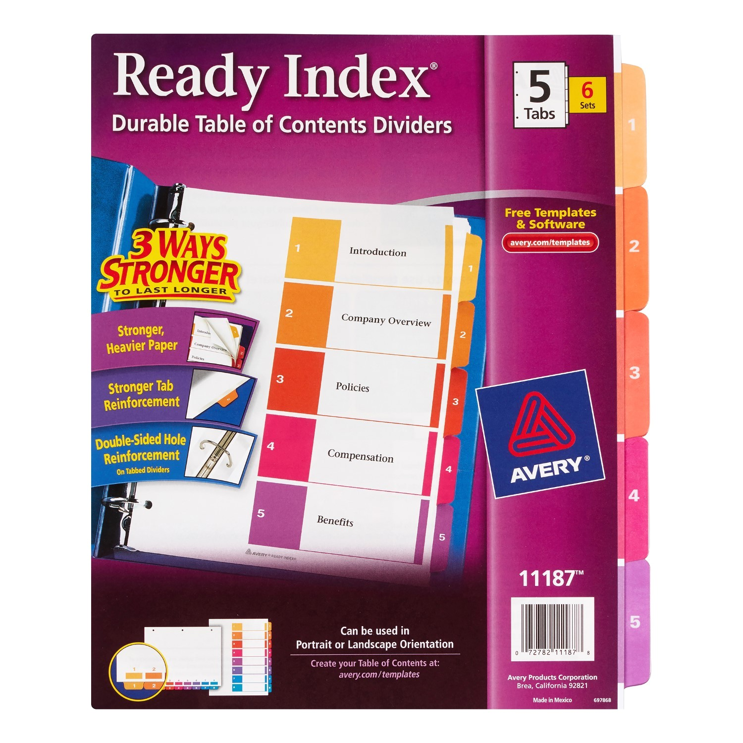 Avery Ready Index 8 Tab Color Template Avery Ready Index Table Of Contents Dividers assorted