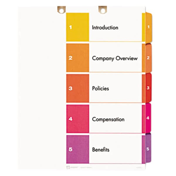 Avery Ready Index 8 Tab Template Avery 13156 Ready Index 5 Tab Multi Color Customizable