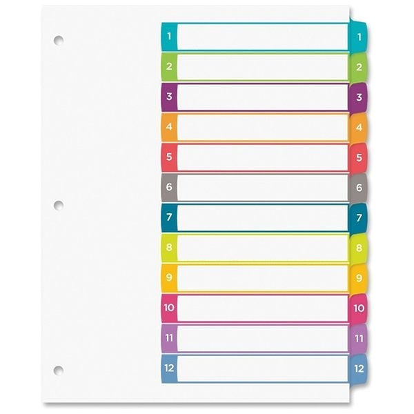 Avery Ready Index 8 Tab Template Avery Avery Ready Index Table Of Contents Dividers 12 Tab