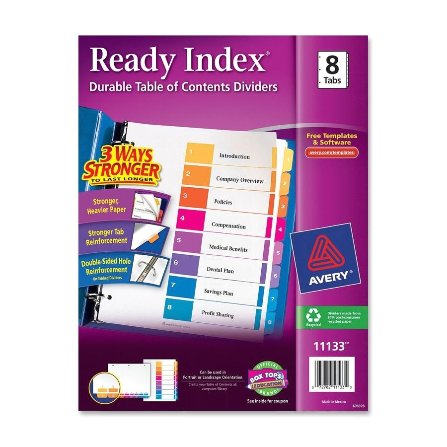 avery ave11133 ready index table of contents reference divider