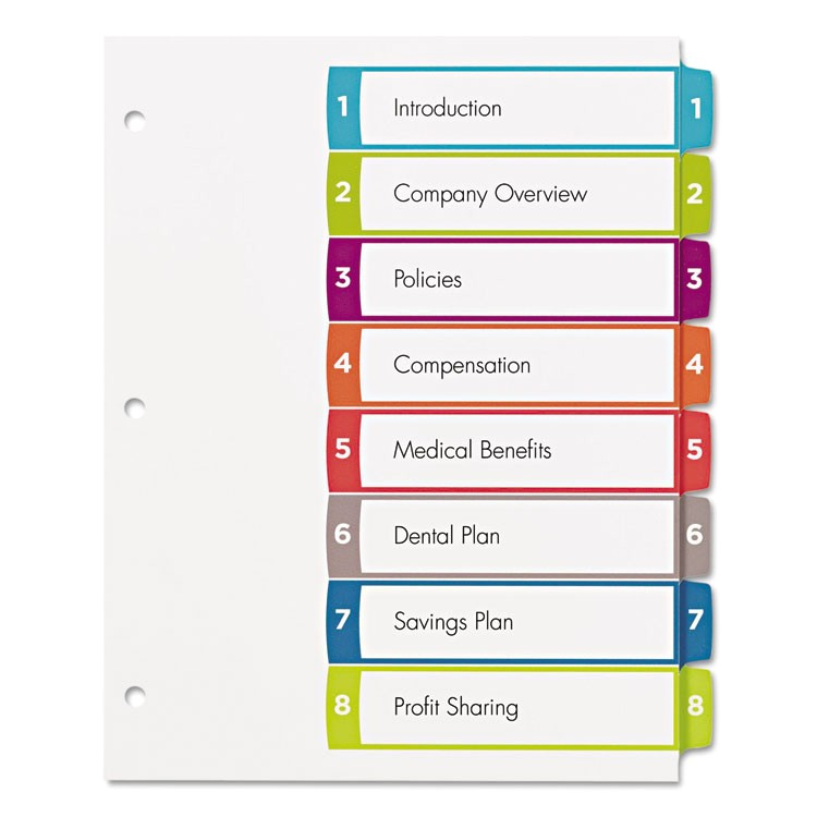 ave11841 ready index table of contents dividers multicolor tabs 1 8 letter