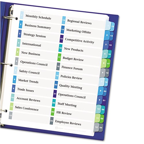 ready index customizable table of contents double column dividers 24 tab ltr ave11321