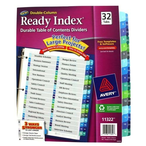 avery 1 32 tab 11 x 8 5 double column toc dividers 11322