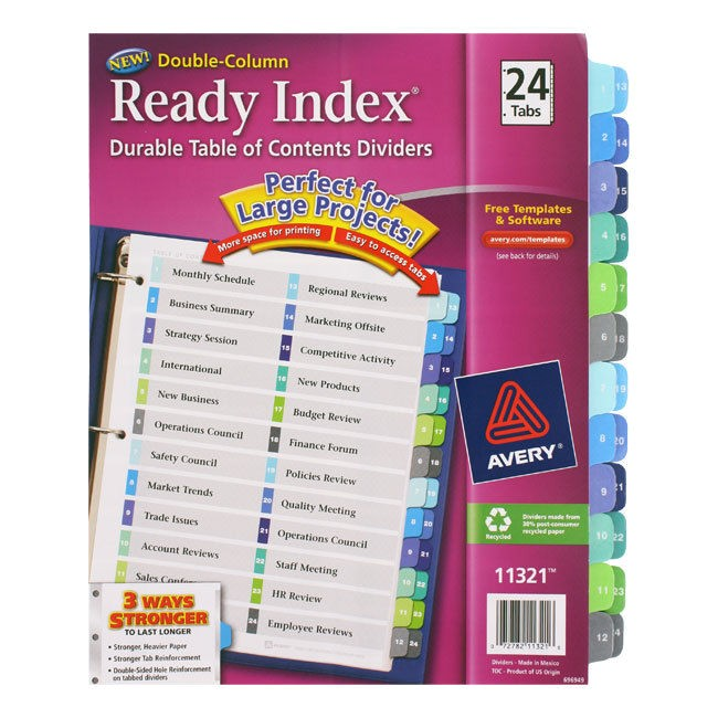 Avery Ready Index Double Column Dividers 32 Tabs Template Avery Ready Index Customizable Table Of Contents Double
