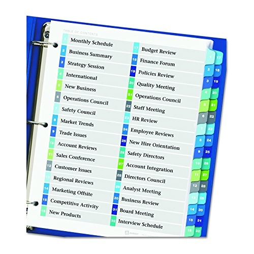 avery ready index double column table of contents dividers 32 tab multi color 11322 ap b001cd7kzc