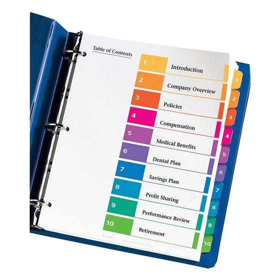 Avery Ready Index Template 10 Tab Avery 11135 Ready Index 1 10 Multicolor Tabs 1 Set