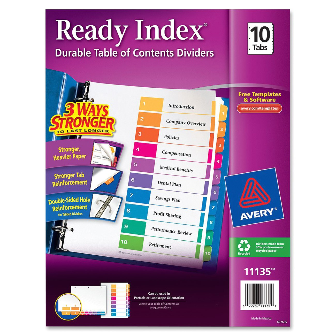 Avery Ready Index Template 10 Tab Avery 11135 Ready Index Table Cont Dividers W Color Tabs