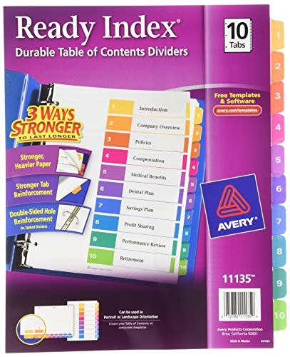 avery ready index table of contents dividers 10tab set 1 set 11135 ap b00006ibvq