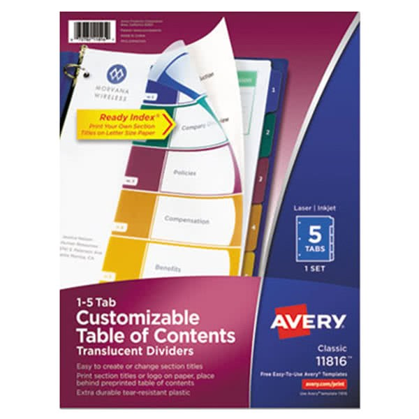 Avery Ready Index Template 10 Tab Color Avery Ave11816 Ready Index 5 Tab Multi Color Plastic Table