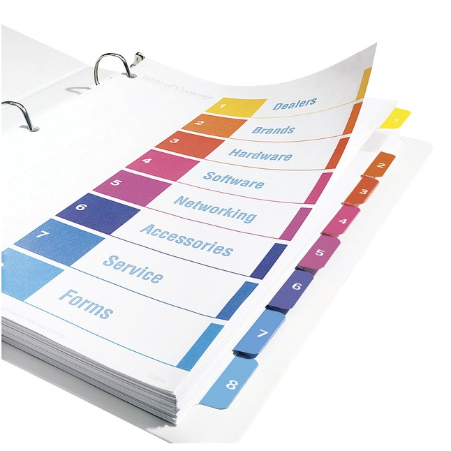 avery ready index tab table of contents dividers multi color 078524